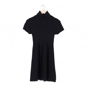 Zara Black Turtle Neck Knitted Mini Dress