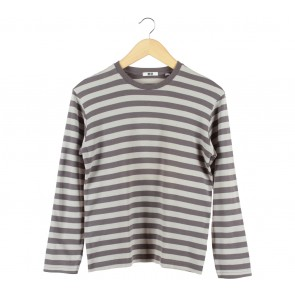 UNIQLO Grey Striped T-Shirt