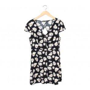 Cotton On Black Floral Back Cut Out Mini Dress
