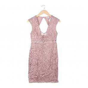 River Island Pink Lace Midi Dress