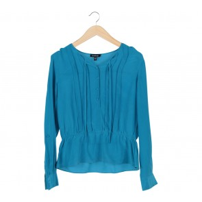 Bebe Blue Long Sleeve Blouse