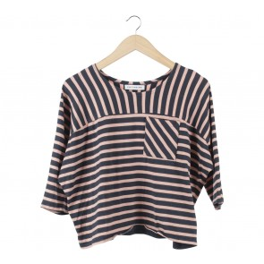Cotton Ink Dark Blue And Pink Striped T-Shirt