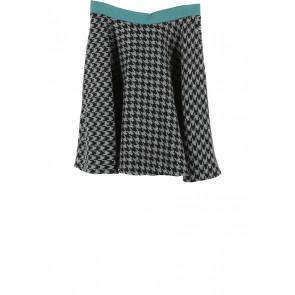 Picnic Black And Grey Houndstooth Skirt