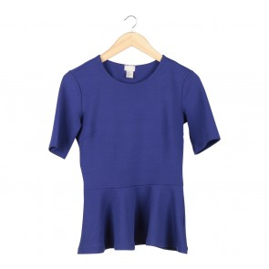 H&M Blue Peplum Blouse