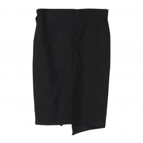 Stradivarius Black Textured Slit Skirt
