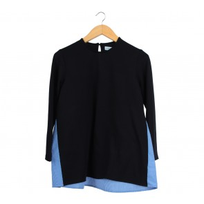 Cotton Ink Black And Blue Blouse
