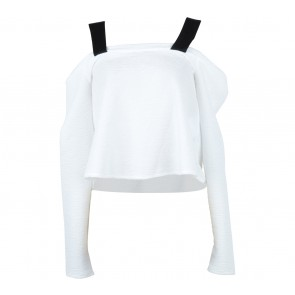 Zara Black And White Off Shoulder  Blouse
