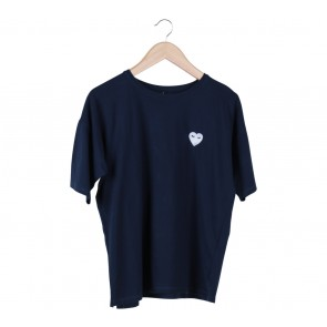 Stradivarius Dark Blue Embroidery T-Shirt