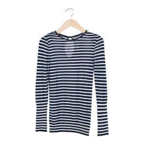 Zara Black And White Striped Blouse