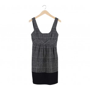 Zara Black Houndstooth Sleeveless Mini Dress