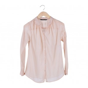 Zara Cream Pleated Shirt