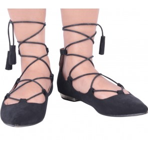 Zalora Black Lace Up Flats