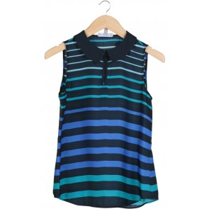 Dark Blue Striped Sleevless Blouse