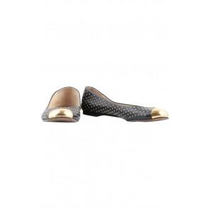 Giuseppe Zanotti Black Leather Gold Studded Flats