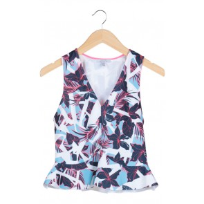 Multi Bright Floral Sleeveless Peplum Blouse
