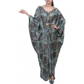 Powder Green and Brown Printed Caftan