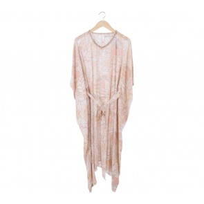 Powder Pink and Beige Floral Kaftan