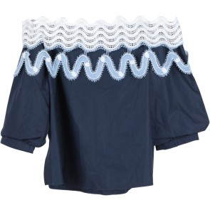 Dark Blue Bardot Cropped Blouse