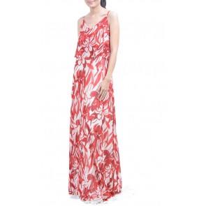 Red Flower Maxi Dress
