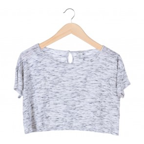 Forever 21 Grey Cropped Blouse