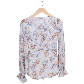 White Floral Longsleeves Blouse