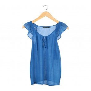 Zara Blue Cape Sleeve Blouse