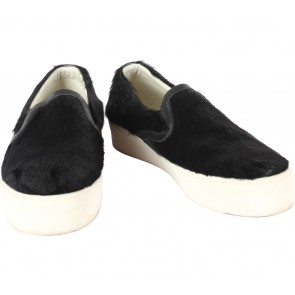 Marnova Black Fur Slip On Sneakers