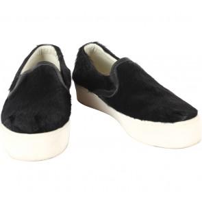 Marnova Black Fur Slip On Sneakers