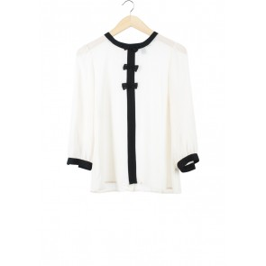 Forever 21 Cream And Black Ribbon Blouse