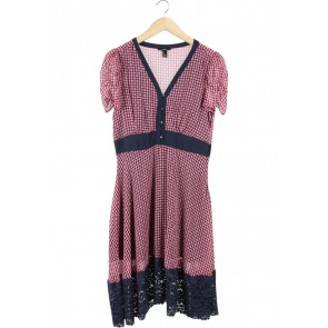 Forever 21 Pink And Dark Blue Combi Lace Midi Dress