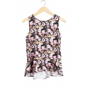 H&M Multi Colour Floral Peplum Sleeveless