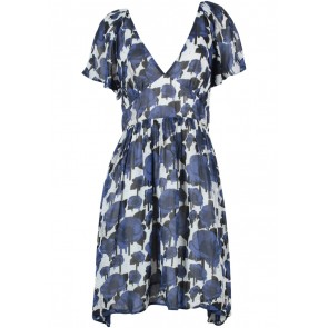 Topshop Dark Blue And Off White Floral Mini Dress