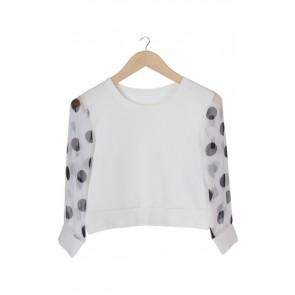 White Dotted Longsleeve Blouse