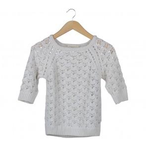 Zara Off White Sheer Insert Sweater