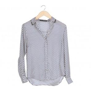 Zara Cream And Blue Polka Dot Shirt
