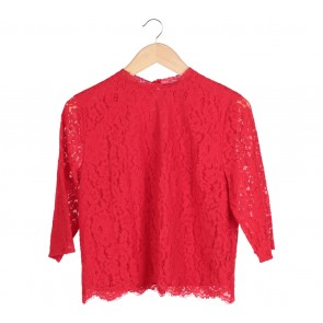 H&M Red Lace Blouse