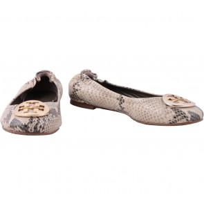 Tory Burch Grey Snakeskin Flats