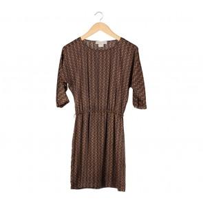 Michael Kors Brown And Yellow Mini Dress
