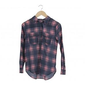 GAP Pink And Dark Blue Plaid Shirt