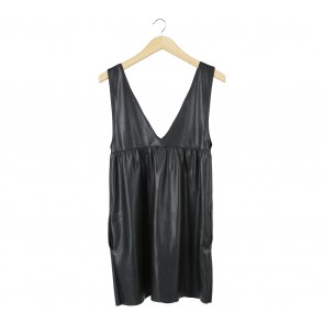 Zara Black Leather Sleeveless Mini Dress