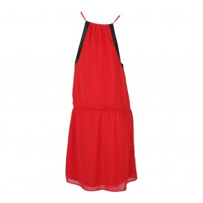 Zara Red And Black Combi Leather Mini Dress