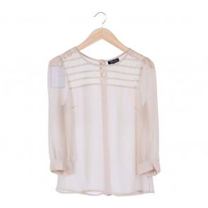 Topshop Cream Lace Insert Blouse