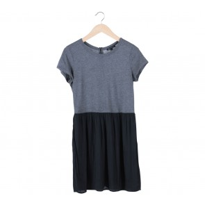 Mango Grey And Black Combi Midi Dress