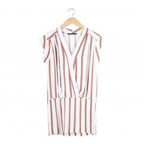 Zara Off White And Brown Midi Dress