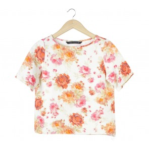 Zara Off White Floral Blouse