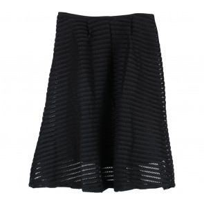 Yuan Black Perforated Skirt