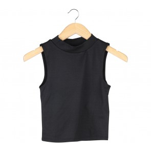 Divided Black Textured Sleeveless