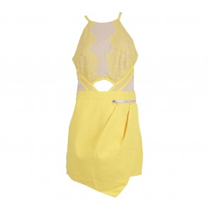 MDS Yellow Lace Cut Out Jumpsuit