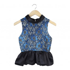 Poise24 Blue And Black Floral Peplum Sleeveless