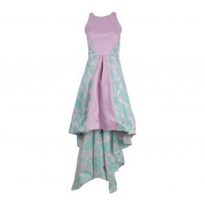 Poise24 Purple And Blue Floral Asymmetric Mini Dress